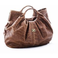 Alexandra de Curtis Alexis Tote - Brown Crocodile ($505) ❤ liked on Polyvore