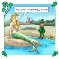 """""""Well, I don't believe in *you,* either!"""" (Don Flowers) Mermaid Cove, Mermaid Art, Mermaid Style, Real Mermaids, Mermaids And Mermen, Mermaid Illustration, Children's Book Illustration, Irish Jokes, Vintage Mermaid"""