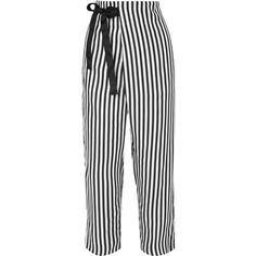 J.Crew Okinawa striped wide-leg silk-twill wrap pants (4 315 UAH) ❤ liked on Polyvore featuring pants, black, wide leg trousers, structure pants, striped wide leg pants, tie waist pants and j crew pants