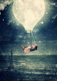 Moon Reverie over Paris Art Print by Paula Belle Flores - X-Small Paris Kunst, Paris Art, Beautiful Fantasy Art, Beautiful Moon, Canvas Art, Canvas Prints, Art Prints, 7 Arts, Dream Illustration