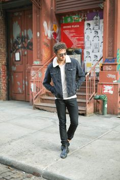 The full look on the latest post featuring this warm TOPMAN Shearling Denim Jacket, long tee from Matiere, black denim jeans & Fiorentini+Baker boots - Men's Fall Fashion and Style