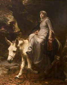 """""""Una"""", by George Percy Jacomb-Hood (British, 1857-1929). In epic poem 'The Faerie Queene' by Edmund Spenser, Una is the personification of Truth and of the """"True Church"""", who travels with the Redcrosse Knight (who represents England) and defeats Duessa (who represents the """"false"""" -- i.e. Catholic -- church)."""