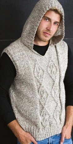 Hooded vest for men - knitting pattern