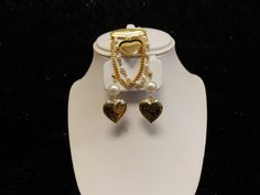 Heart Locket Earring and Brooch Set by TouchofElegance2 on Etsy, $40.00