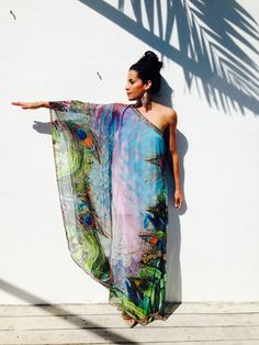Stunning one-shoulder digitally printed peacock kaftan with embellishments only from Luxe Isle! http://www.luxeisle.com/products/glamorous-floor-length-caftan-dress
