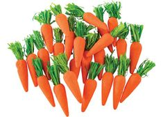 This pack of decofoam mini carrots is great for decorating Easter hats and baskets. These cute Easter embellishments can be glued to crafted bunnies or strung together to create Easter bunting for the classroom. Great for creating a beautiful Easter display. These carrots can be stuck to a crafted bunny and used inside a glass cloche or jar to create an Easter ornament.  Be careful using hot melt glue as this could melt the foam. A wonderful craft item for all children to enjoy their Easter