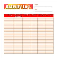 Sample Daily Log Template Activity Log Sample   Documents In PDF, Word,  Excel