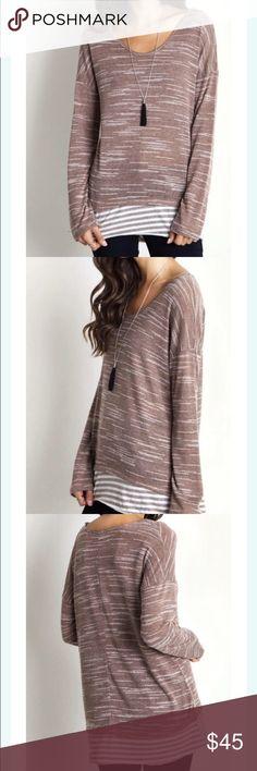 🆕 Bottom Stripe Top So fun! Gorgeous mocha color. Striping along the hem. 60% Cotton, 40% Polyester. Umgee USA Tops