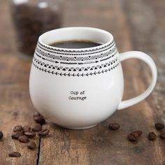 These Cup of Message Mugs are so cute! They feature a simple font with a fun and original border at the rim. Each one has a