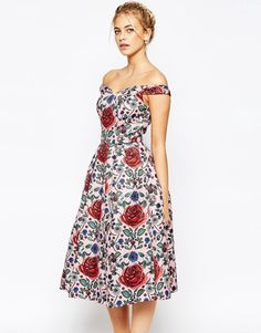 Image 1 of Chi Chi London Allover Rose Print Midi Dress with Bardot Neck