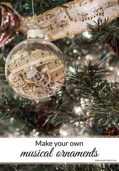 If you love music these DIY Musical Ornaments are the perfect craft project to decorate your tree with this year!  Make your own with your favorite pages of sheet music and empty glass ornaments.