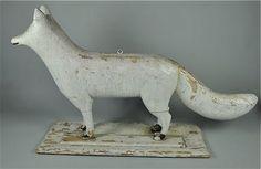 antique chippy folkart fox from the snow fox tavern