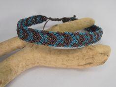 bracelet macramé chocolat et bleu pour homme : Bracelet par les-creations-du-sud