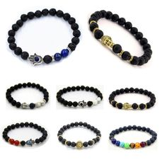 #Men's lava rock & #skull #tigers eye stone protection energy gold hamsa bracelet,  View more on the LINK: http://www.zeppy.io/product/gb/2/381455141704/