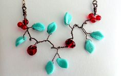 Beaded wire necklace  turquoise necklace   by banyasjewelry, $29.99