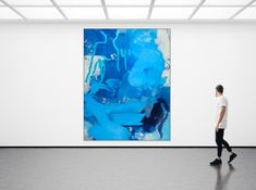 Large Contemporary Abstract Painting / Urban Abstract Expressionism Street Graffiti, Urban Industrial, Blue Skies, Large Painting, Blue Abstract, Abstract Paintings, Modern Interior Design, Abstract Expressionism, Contemporary Artists