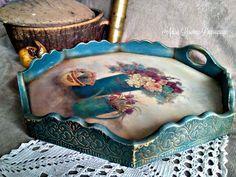 vintage serving tray shabby chic handmade by Adisa Lisovac Decoupage Decoupage Art, Decoupage Vintage, Decoupage Ideas, Painted Trays, Hand Painted, Tray Decor, Craft Items, Craft Fairs, Painting On Wood