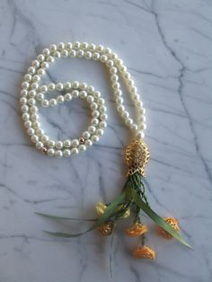 Pearl 99 islamic prayer beads with yellow flowers, Tasbih, Tesbih, Necklaces