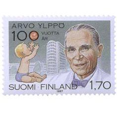 Postimerkki: Arvo Ylppö 100 vuotta | Suomen postimerkit Nostalgia, Stamps, Baseball Cards, Finland, Seals, Postage Stamps, Stamp