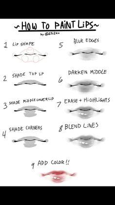 Drawing Skills, Drawing Tips, Art Reference Poses, Drawing Reference, Sai Brushes, Anime Lips, Human Anatomy Drawing, Drawing Expressions, Anatomy Tutorial