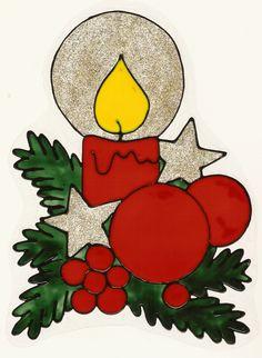 taulin fensterbild weihnachten farbig kerze mit zweigen. Black Bedroom Furniture Sets. Home Design Ideas
