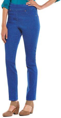 Ruby Rd. Petites Pull-On Vibrant Dye Extra Stretch Denim Pants