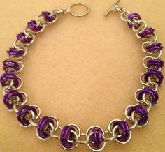 Aluminum and Purple Barrel Weave Bracelet by lovestruckjewelry, $26.70