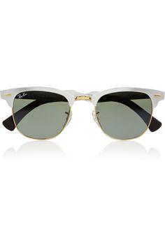 Ray-Ban | Clubmaster aluminum mirrored sunglasses | NET-A-PORTER.COM