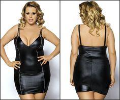 8806404c96d New Sexy Black Faux Leather Look Women s Party Clubbing Mini Dress Plus Size