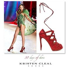 Ever wondered who designs those fab shoes for the Victorias Secret Fashion Shows!? SHOE #22 of 30- Nicholas Kirkwood. His shoe collection was used in the Victoria's Secret Fashion Show 2012. Over a dozen gorgeous confections by Kirkwood accompanied the dazzling lingerie costumes, each pair custom-designed. These lush-red strappy babies were famously worn by Australian model Miranda Kerr. @Miranda Kerr @Victoria's Secret #kristenclealshoes #shoes #shoefetish #shoeoftheday #miranderkerr…