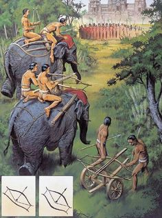"""Elephant-mounted and wheeled double-bow siege crossbows at Angkor, Cambodia Wayne Reynolds Wayne Reynolds, Military Art, Military History, War Elephant, Fantasy Words, Asian History, Fantasy Inspiration, History Facts, Middle Ages"