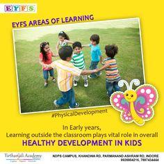 Eyfs Areas Of Learning, Eyfs Curriculum, Foundation Stage, Physical Development, Nursery School, Outdoor Learning, Indore, Class Room, Kindergarten Teachers