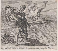 Antonio Tempesta   Plate 84: Hercules Throwing Lichas into the Sea (Lernaei muneris gerulum in Euboicum mare praecipitat Hercules), from Ovid's 'Metamorphoses'   The Met