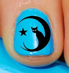 70 DECALS Black Cat in the Moon  Familiar Symbols  by NorthofSalem, $4.99