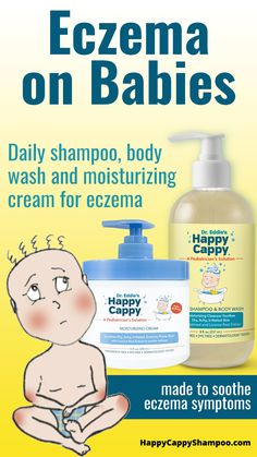 Eczema reduces the skin's ability to protect itself from the environment, meaning any harsh or irritating product can dry out and inflame skin. One of the most important treatments for eczema in children of all ages is using a gentle, non-soap shampoo, body wash or cream for eczema that will clean the skin without irritation. Dr. Eddie's Happy Cappy offers a Daily Shampoo & Body Wash, as well as a Moisturizing Cream, for eczema specifically formulated for children. #Eczema #Babies Body Treatments, Eczema Shampoo, How To Treat Eczema, Eczema Remedies, Best Shampoos, Workout Guide, Body Wash, Cleanser