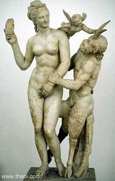 APHRODITE & PAN Museum Collection: National Archaeological Museum, Athens, Greece . Date: ca 100 BC Period: -- Aphrodite - the goddess of love and beauty. the patron saint of prostitute.
