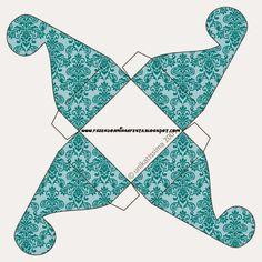 Arabescos Azules: Cajas para Imprimir Gratis.