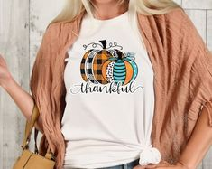 Etsy :: Your place to buy and sell all things handmade Thanksgiving Shirts For Women, Crew Neck Shirt, T Shirt, Thankful And Blessed, Fall Shirts, Shopping Websites, Graphic Sweatshirt, My Style, Sweatshirts