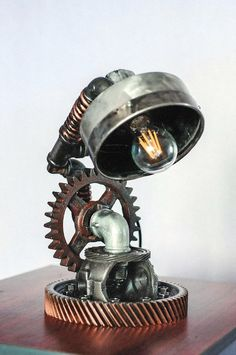 Steampunk Lamp Table Lamp Edison Light by SteampunkLoftCraft