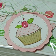 Cupcake gift tags / favor tags, hand stamped, custom colors, set of 6