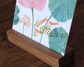 2016 Desk Calendar with Wood Stand, floral, botanical illustration, flowers, inspirational, messages