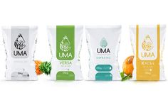 UMA Premium Fertilizer  Created by KADV ltd, UMA has presented the first high-level brand in the world of fertilisers. Coloured lines and structures have been kept simple, clean and free to cue the current packaging trend of 'premium'. || Drawfour Translation ---> Trends do not necessarily translate across categories. The thought of a 'premium' fertiliser seems counter-intuitive to us.