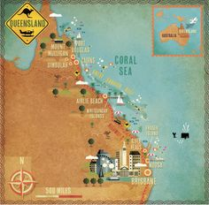 Lonely Planet mag Queensland Map illustrated by cartographik