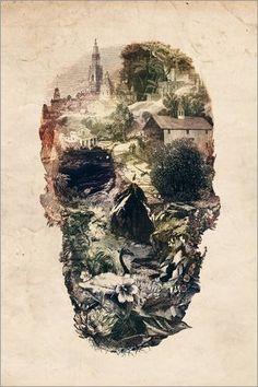 Leinwandbild 80 x 120 cm: Skull Town von Ali Gulec - fertiges Wandbild, Bild auf Keilrahmen, Fertigbild auf echter Leinwand, Leinwanddruck