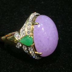 Natural Burma Lavender Jadeite Icy Jadeite 18k Gold Ring