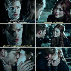 """Bringing people back... there's always consequences."" Jace and Clary #Shadowhunters"