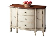 Cream dresser with cherry top One Kings Lane - The Country Cottage - Adelaide Cabinet, Distressed Cream