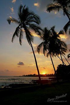 Sunset at Kona, Big Island, Hawaii.