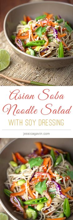 Asian Soba Noodle Salad with Soy Dressing | jessicagavin.com #healthyrecipe