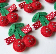 Felt+Cherries+Hair+Clip++An+adorable+red+by+MasterpiecesOfFunArt,+$3.75